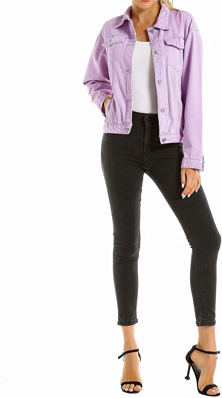 zhuluokeke Women' s Basic Button Denim Jean Jacket Large Size Loose Denim