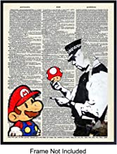 Graffiti Banksy Wall Art - Super Mario Upcycled Dictionary Art, Home Decor Poster Print - Urban Street Art Room Decorations for Teens, Kids, Boys Room, Game Room - Great Gift for Gamer, Men, Man, Him