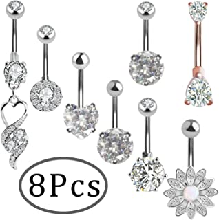 ONESING 8 Pcs Belly Button Rings Belly Bars Navel Piercing Curved Body Piercing Jewelry Barbell Rings for Women, Stainless Steel 14G