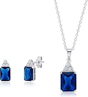Sterling Silver Simulated Blue and White Sapphire Emerald Cut Pendant Necklace and Stud Earring Jewelry Set