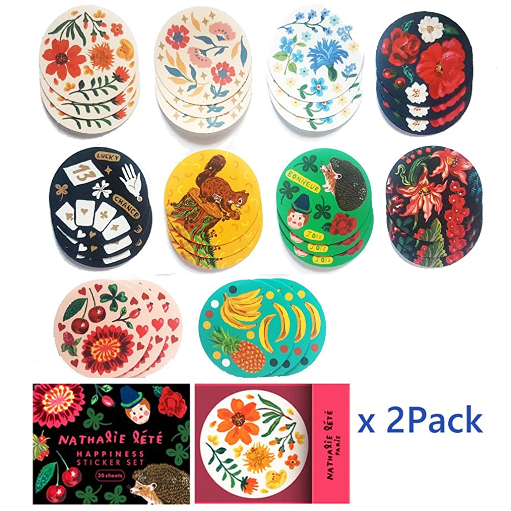 Nathalie Lete Stickers 60Pack Decorative Sealing Sticker Tag Colorful Flower Wedding Anniversary Gift Birthday Thank You Envelopes