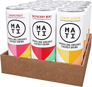 MATI Sparkling Healthy Organic Energy Drink, All Natural Craft Brewed Guayusa, Zero Calorie, Sugar-Free, 0 Calorie Variety, 12 Fl Oz Cans (Pack of 12) Clean Label, Keto, NON-GMO, Whole30, Plant Based