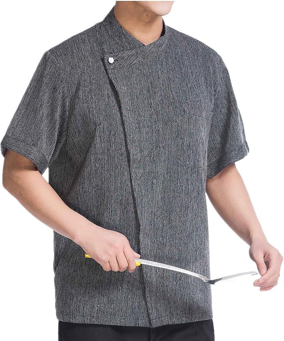 WAIWAIZUI Linen trend rank Chef Jackets Coat Sleeves Credence Waiter Short