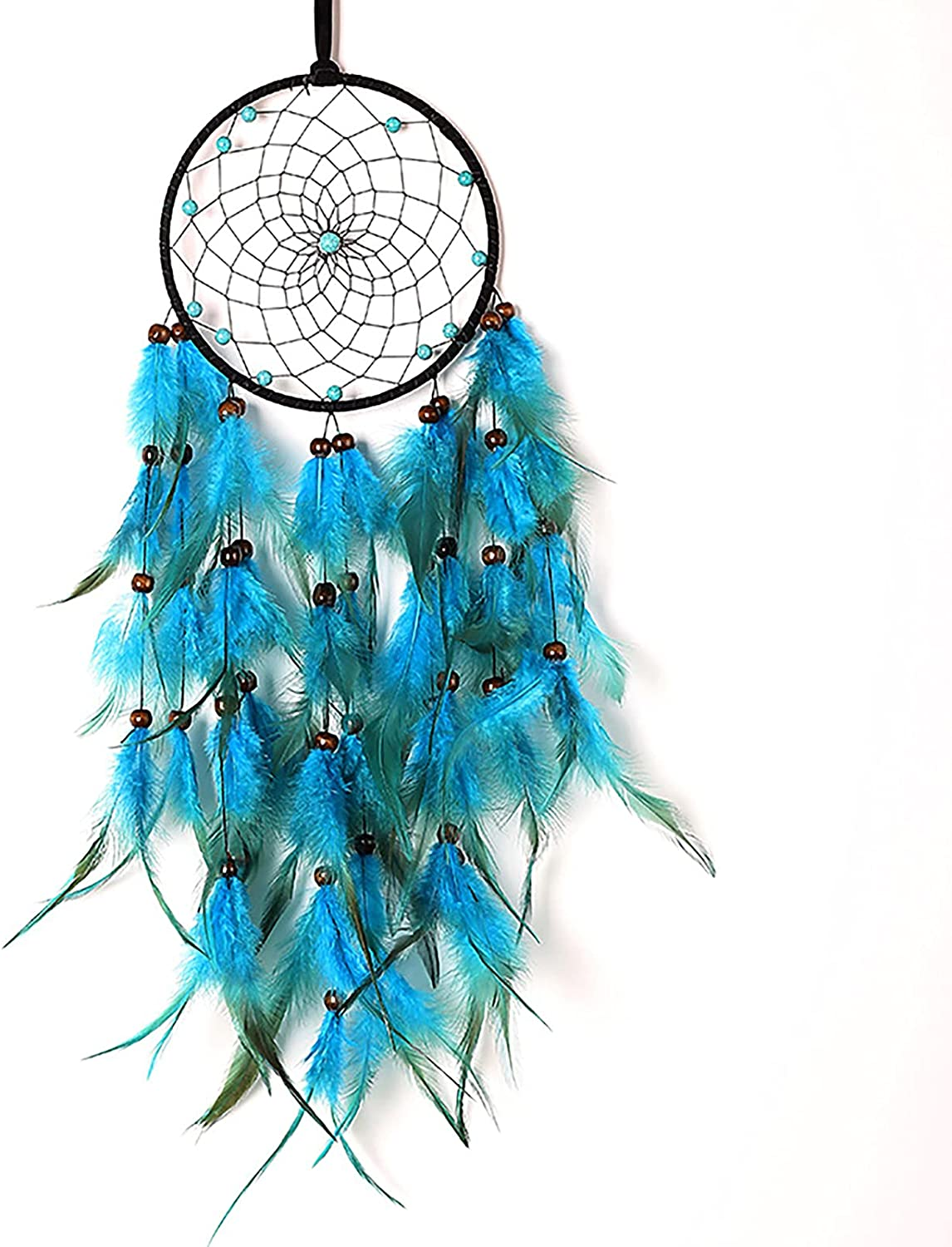 LED Dream Catcher Blue Handmad Feathers Beautiful Discount mail Translated order