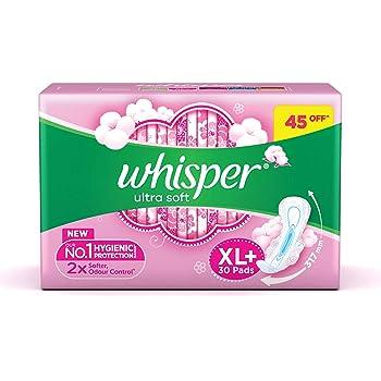 Whisper Ultra Soft Sanitary Pads for Women, XL+ 30 Napkins