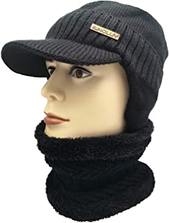 Winter Beanie Hat Scarf Set, Equipped with Visor and Earflaps, Warm Thick Fleece Lined Knit Hat & Scarf for Men Women