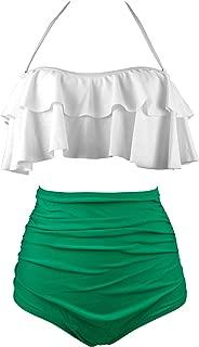 Women's Retro Boho Flounce Falbala High Waist Bikini Set Chic Swimsuit(FBA)