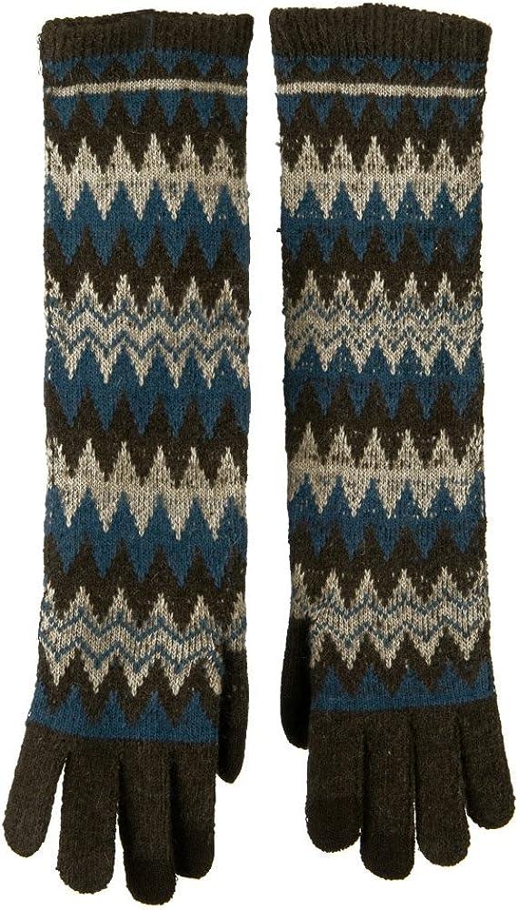 16 Inches Knit Texting Zig Zag Glove - Brown Blue Beige W17S39F