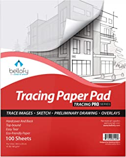Bellofy Tracing Paper Pad 100 Sheets - Translucent Tracing Paper for Pencil, Marker and Ink - Trace Images, Sketch, Prelim...
