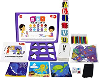 Toiing 10-in-1 Play And Learn Kit | 10 Educational Activities for Basic Skills| Stacking, Sorting, Shapes, Alphabets, Numb...