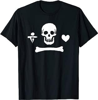 Stede Bonnet Pirate Flag Jolly Roger Skeleton Halloween T-Shirt