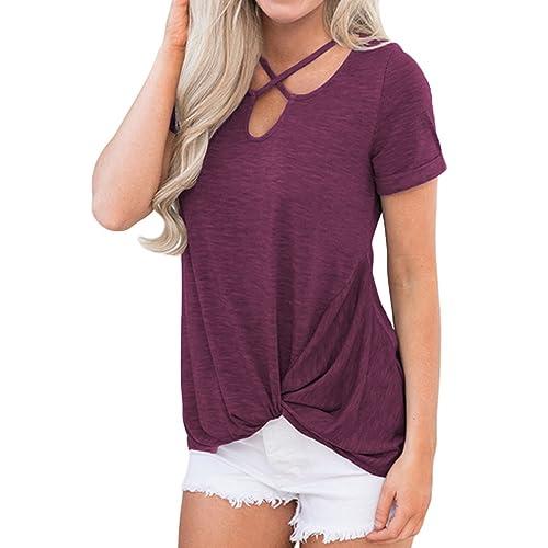 8addf366b0e Queensheero Women s Summer Cuffed Sleeve Twist Front Tee Shirts Top Blouses  XXL Wine Red