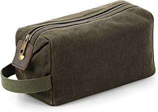 Quadra Heritage Leather Accented Waxed Canvas Wash Bag
