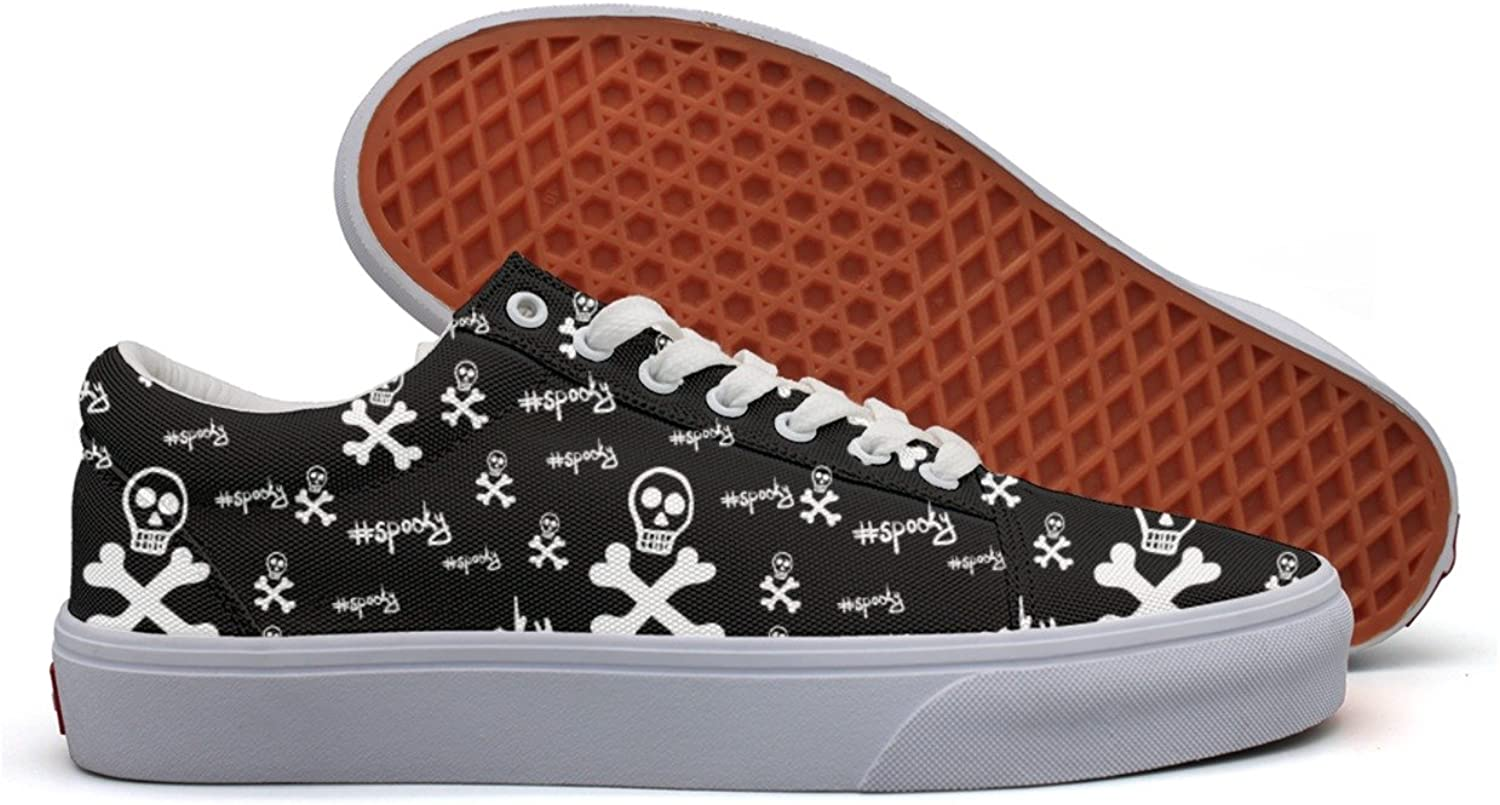 Black Spooky Skulls Womens Denim Canvas Running shoes Low Top Neon Sneakers For Women's