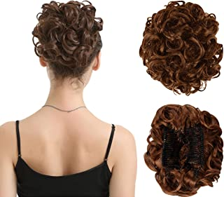 BARSDAR Messy Hair Bun Extension Combs in Easy Stretch Scrunchie Chignon Tray Ponytail Hairpieces for Women/Ladies/Girls