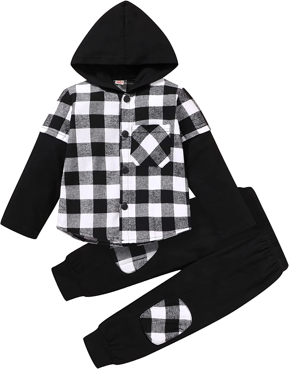 Toddler Boy Clothes Hoodie Sweatsuit Outfits Little Kids Fall Winter Classical Plaid Shirt + Pants Set