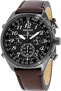 Seiko Men`s Prospex Radio Sync Solar Brown Leather Strap Watch