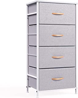ROMOON 4 Drawer Fabric Dresser Storage Tower, Organizer Unit for Bedroom, Closet, Entryway, Hallway, Nursery Room - Gray