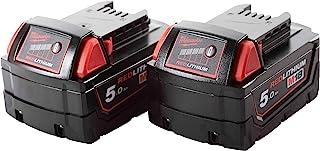 Milwaukee M18B5 18V 5Ah Battery Pack of 2, 12 V, Red