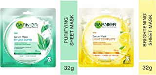 Garnier Skin Naturals, Green Tea, Face Serum Sheet Mask (Green), 32g And Garnier Skin Naturals, Light Complete, Face Serum...