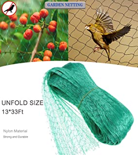 Fzy.bstim Green Anti Bird Netting,Garden Protection Mesh Netting,13Ft x 33Ft Reusable Protective Garden Netting for Fruits Vegetable, and Sensitive Plants Rodents Against Birds