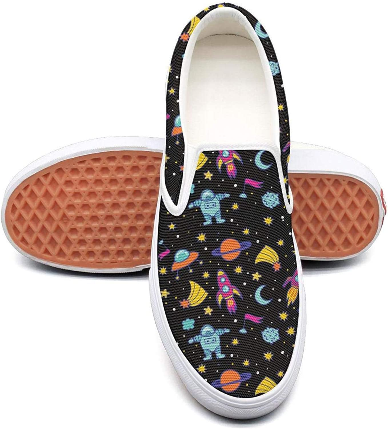 Feenfling Astronaut Star Sky Planet Womens Navy Slip on Low Top Canvas Tennis shoes