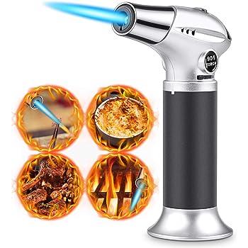 RenFox Flambé brûleur de Cuisine brûleur à gaz Butane, Serrure de sécurité et Acier Inoxydable et Aluminium pour la Cuisine Home DIY Brûlée, Barbecue, Bougies (Butane Non Inclus)