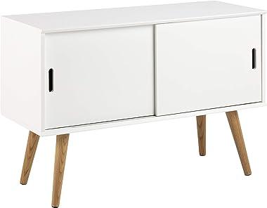AC Design Furniture Mariela Buffet, Chêne, Blanc, L: 38 x l: 100 x H: 68,2 cm