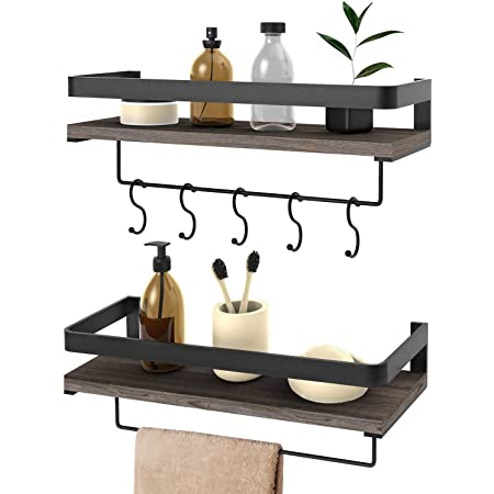 Floating Shelves Wall Mounted 2 Set, Bathroom Shelf with Rail, Towel Bar and 5 Hooks, Storage Shelves for Kitchen, Bathroom, Living Room, Bedroom - Rustic Pine Wood(16.5inch)