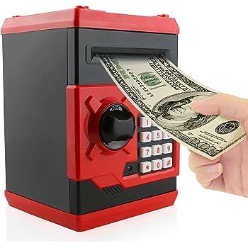 Jhua Money Banks Safe Saving Box ATM Bank Cartoon Moneda en Efectivo Contraseña Caja de Dinero electrónica Safe Locks Smart Voice Prompt Money Box para Niños (Rojo): Amazon.es: Hogar