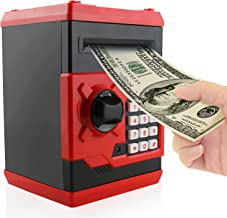 Jhua Cartoon Piggy Bank Password Electronic Money Bank Safe Saving Box ATM Bank Safe Locks Panda Smart Voice Prompt Money Piggy Box for Children (Red)