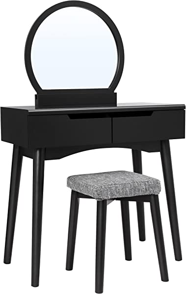 VASAGLE Vanity Table Set With Round Mirror 2 Large Drawers With Sliding Rails Makeup Dressing Table With Cushioned Stool Black URDT11BK