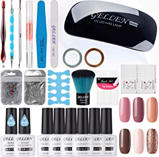 Gellen Gel Polish Starter Kit - Selected 6 Colors, with Top Coat Base Coat Nail Lamp Rhinestones Nail Art Design Tools, Portable DIY Home Gel Manicure Set