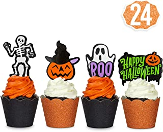 xo, Fetti Halloween Decorations Cupcake Toppers + Wrappers - set of 24 | Happy Halloween, Skeletons, Ghosts, Pumpkins + More