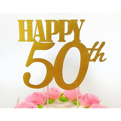 Gold Glitter Happy 50th Birthday Cake Topper