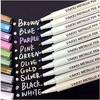 Marqueurs Métalliques, Feutre Métallique 10 Couleurs Vakki Marqueur de Couleur Pour Bullet journal, DIY Album, Scrapbookin...