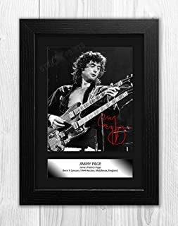 Engravia Digital Jimmy Page (1) Led Zeppelin Poster with Reproduction Autograph Picture Photo A4 Print(Black Frame)