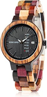Womens Wooden Watches Colorful Bamboo Watches with Week Date Display Handmade Natural Wood Casual Wirst Watches for Ladies, Female Perfect