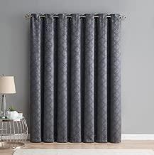 HLC.ME Redmont Lattice Extra Wide-Width Thermal Insulated Energy Efficient Room Darkening Blackout Grommet Patio Door Curtain Panel for Sliding Doors (100 x 84 inches Long, Dark Grey)
