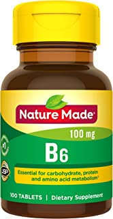 Nature Made Vitamin B6 100 mg Tablets, 100 Count for Metabolic Health† (Packaging May Vary)