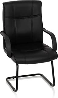 MyBuero silla confidente SKY 10 piel sintética negro silla de recepción con brazos silla cantilever 704540