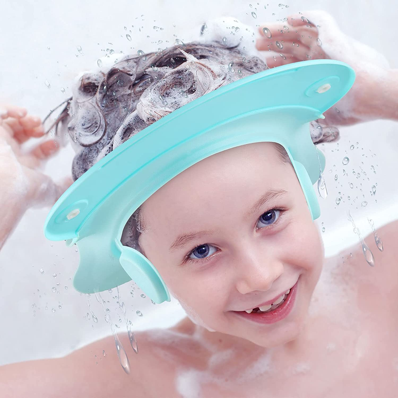 Children Bath Shower Cap Baby Shampoo Shower Cap Bath Visor Shampoo Bathing Hat Prevent Shampoo into The Eyes and Ears for Toddlers Kids Infants (Blue)