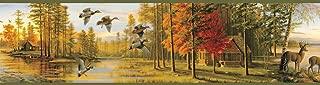 Chesapeake BBC35541B Autumn Quiet Evening Portrait Wallpaper Border, Green
