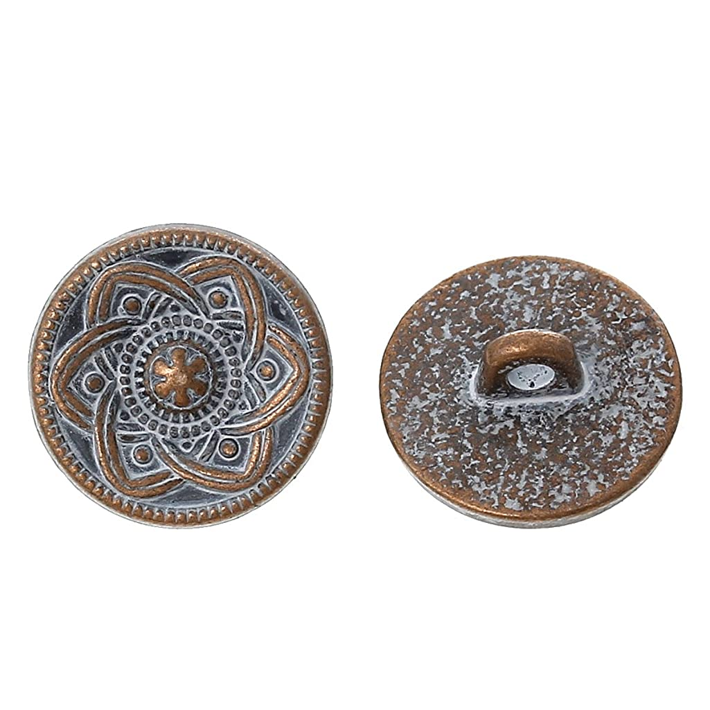 PEPPERLONELY Brand 10PC Metal Shank Button Round Antique Copper Spray Painted White Single Hole Flower Pattern 15.0mm( 5/8)