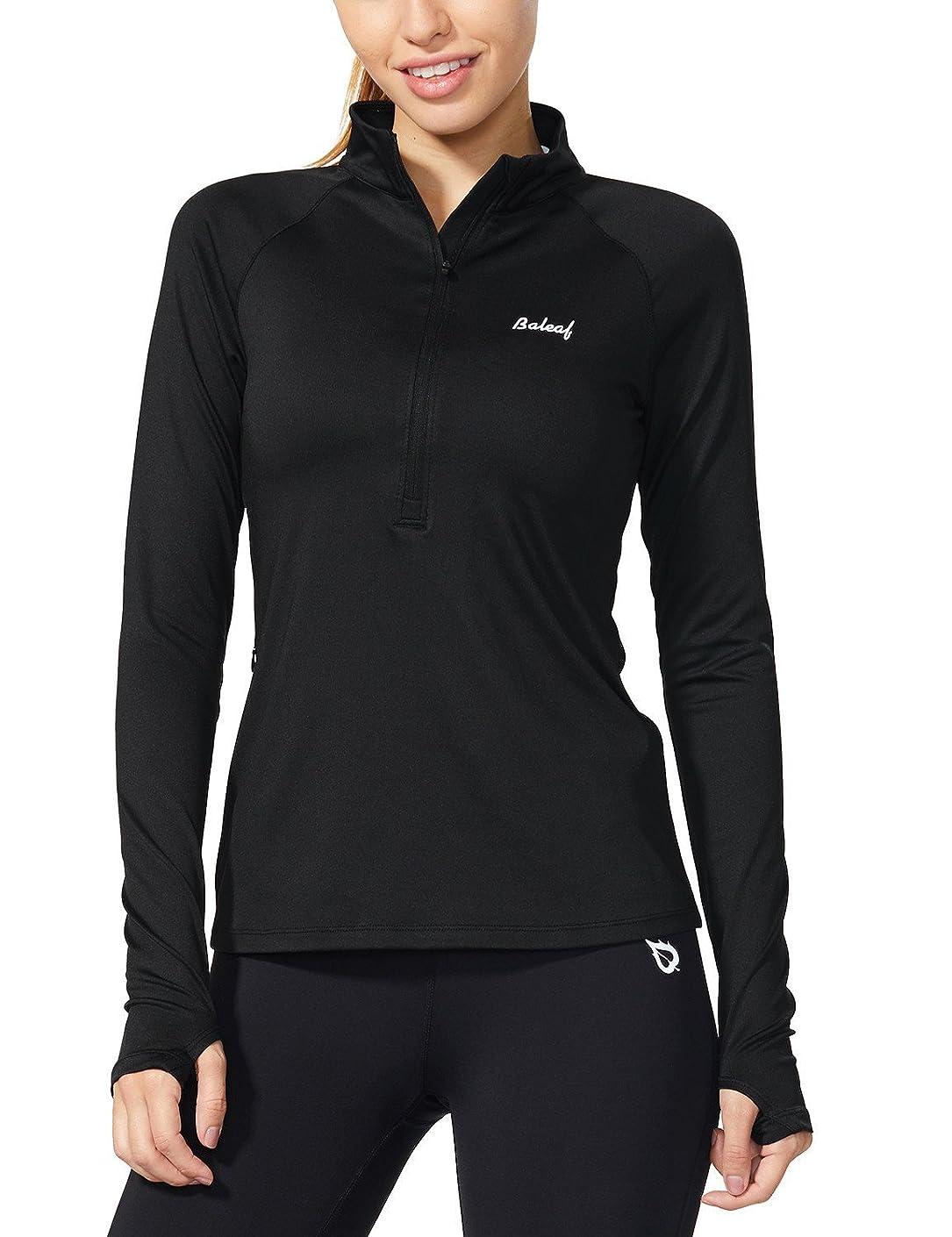 Baleaf Women's Half Zip Pullover Quick Dry Running Top with Thumbholes dczzgjp41