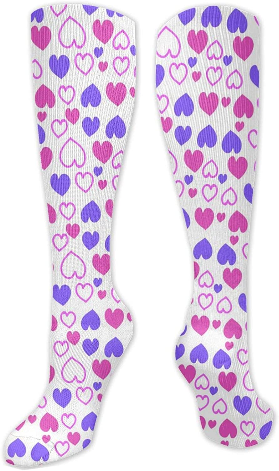Purple And Pink Heart Knee High Socks Leg Warmer Dresses Long Boot Stockings For Womens Cosplay Daily Wear