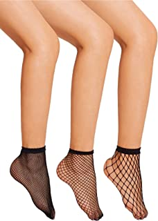 Floerns Women's Hollow Out Solid Fishnet Ankle Socks 3 Pairs