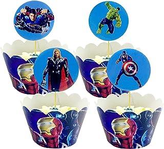 Yisscen Cupcake Toppers et Wrappers de Super-Héros Gâteau Décoration, Super-Héros Caissette Papier Cupcake, Fournitures de...