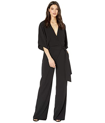 Halston Wide Short Sleeve Wrap Front Jumpsuit w/ Waist Tie (Black 1) Women