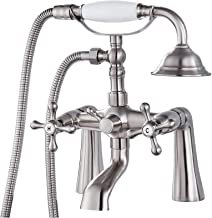 Deck Mount Tub Bathtub Faucet Clawfoot with Handheld Shower 6 Inch Brushed Nickel Telephone Shaped Sprayer Showerheld Doub...